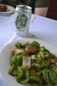 Chinese Beer and Chicken - lunch on the Trans-Siberian Railway, China