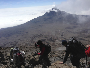 Way down from the top of Mount Kilimanjaro, Tanania