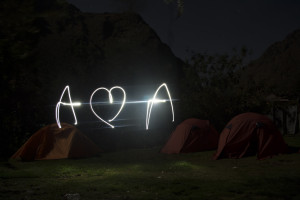 Andrew loves Annie, camping on the Inca Trail in Peru