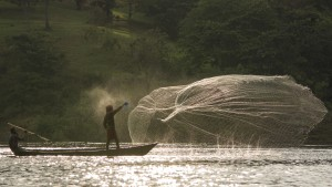 Fisherman casting a net in Uganda near Jinja